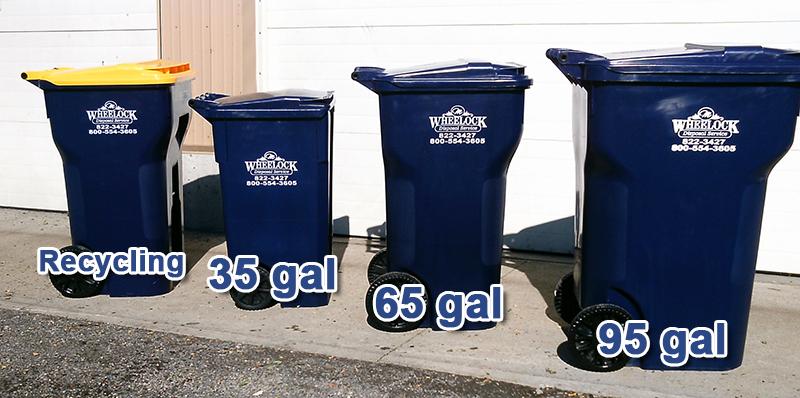 Wheelock trash can sizes