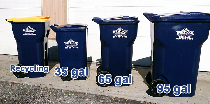 Wheelock trash can sizes