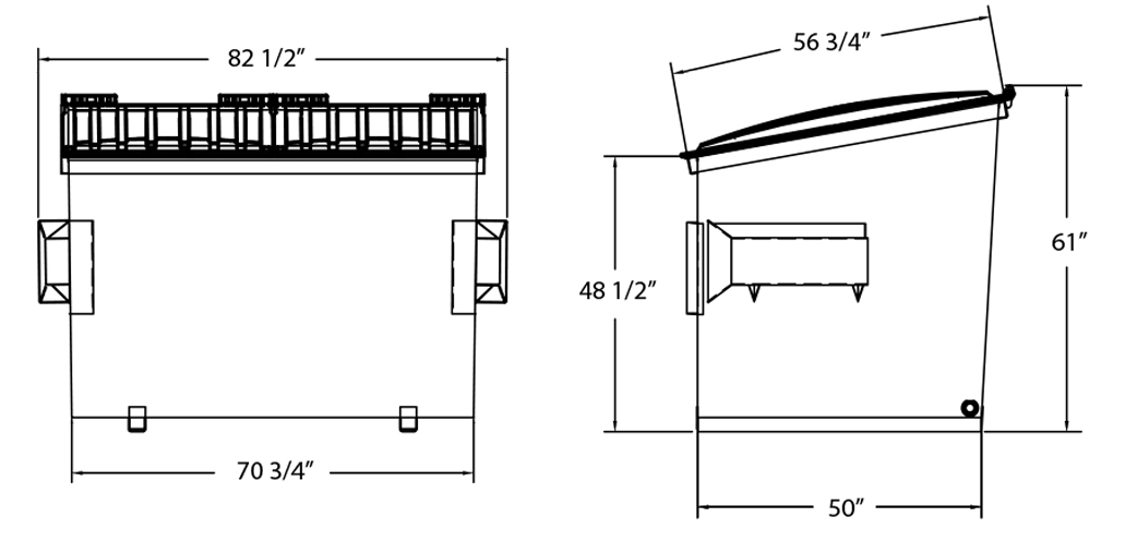 Wheelock 4-Yard Slant Dumpster for Commercial Trash Collection